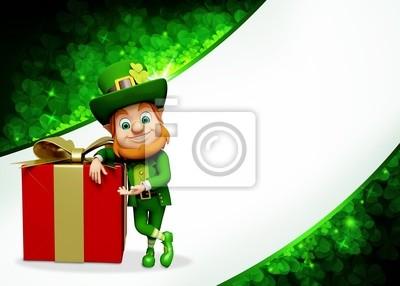 Naklejka Leprechaun na dzień patryka z dużym pudełku