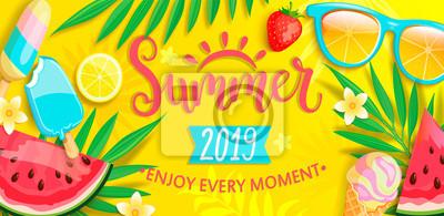 Naklejka Letni baner z symbolami na lato, takie jak lody, arbuz, truskawki, szklanki. Ręcznie rysowane napis na szablon karty, tapety, ulotki, zaproszenia, plakat, broszura. Ilustracja wektorowa