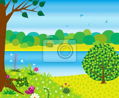 Letni krajobraz z rzeką