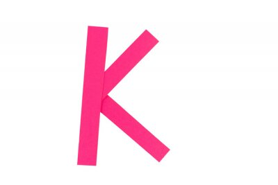 Letter K from parts of red paper