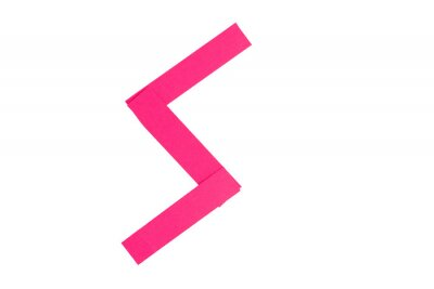 Letter S from parts of red paper