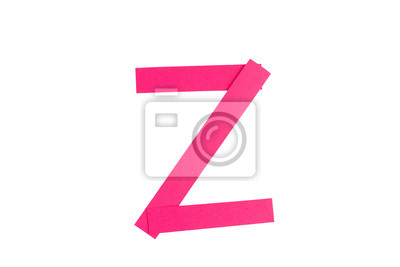 Letter Z from parts of red paper