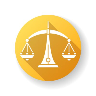Libra zodiac sign yellow flat design long shadow glyph icon. Judicial system, equilibrium, horoscope scales. Balanced old fashioned weight measuring instrument. Silhouette RGB color illustration