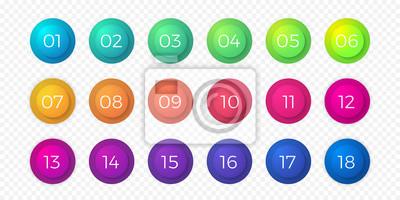 Naklejka Liczba punktor płaski kolor gradientu zestaw ikon web. Guziki kółko kroku lub 18 przycisków numerycznych bullet wektor na białym tle okrągłe bąbelki na przezroczystym tle na projektowanie stron intern