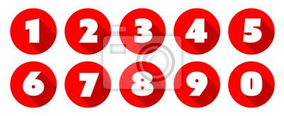 Naklejka Liczby / czerwony okrąg Ikony