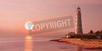 Naklejka lighthouse and sunset