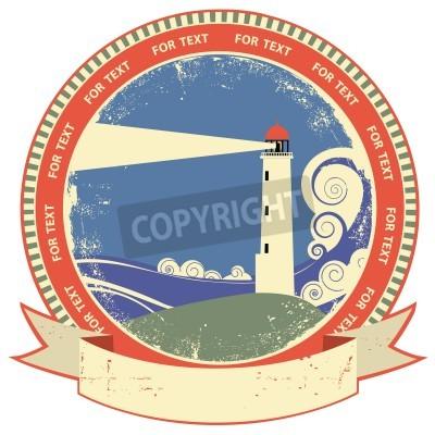 Naklejka Lighthouse etykiety symbol.Vintage na starym tekstury papieru