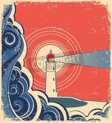 Naklejka Lighthouse with blue sea.