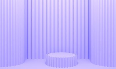 Lilac abstract background with embossed wall, columns and podium. Backdrop design for product promotion. 3d rendering