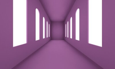 Naklejka Lilac corridor with large windows and bright lights. Backdrop design for product promotion. 3d rendering