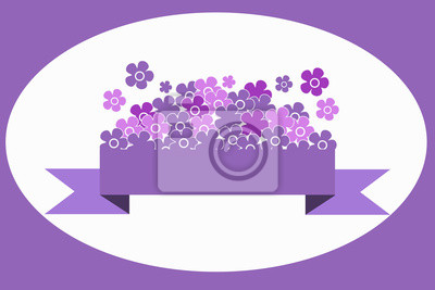 Lilac i różowe kwiaty na liliowym wstążką