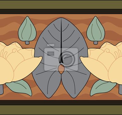 Naklejka Lilie / lotus granicy, bez szwu wzór, wektor