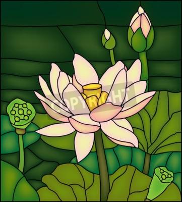 Naklejka Lily w stawie, witraże Winów