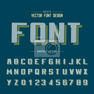 Line Bold Font shadow and  Graphic alphabet vector, Writing typeface and number design