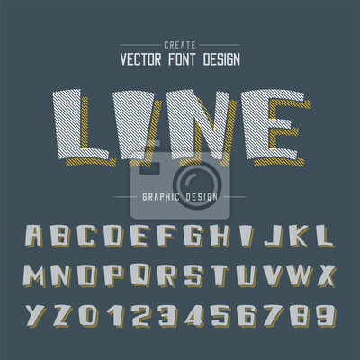 Line Cartoon font shadow and Graphic alphabet vector, Bold typeface and number design