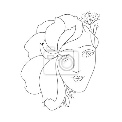 line drawing faces, fashion concept, woman beauty minimalist, vector illustration for t-shirt, slogan design print graphics style