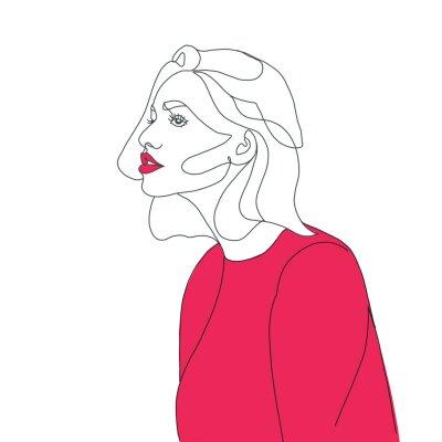 Naklejka line drawing faces, fashion concept, woman beauty minimalist, vector illustration for t-shirt, slogan design print graphics style
