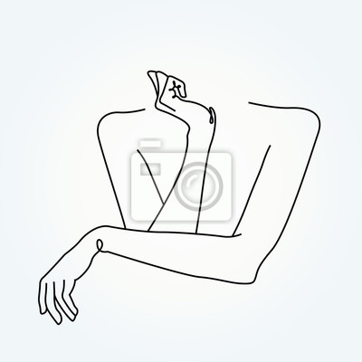 line drawing hands, fashion concept, hand beauty minimalist, vector illustration for nails, t-shirt, slogan design print graphics style
