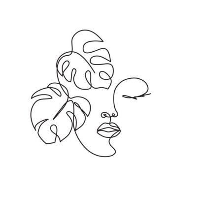 Naklejka Line drawing of the profile of a woman with flowing hair and flowers, for organic cosmetics