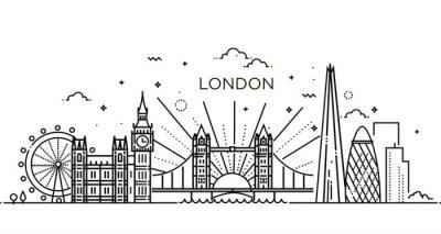 Naklejka Linear banner z Londynu miasta.