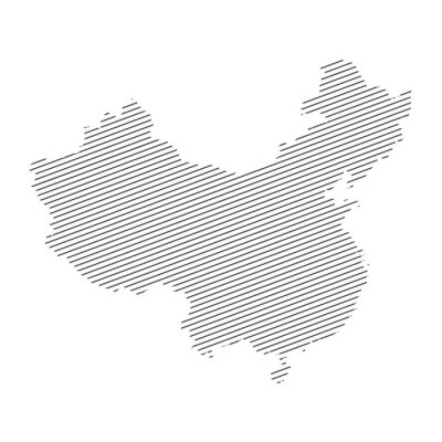 lines map of China isolated on white background