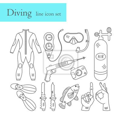 Linia ikon wektorowych ze sprzętem do nurkowania.