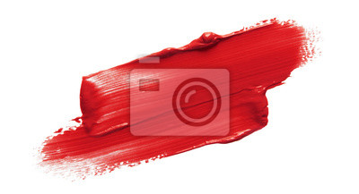 Naklejka Lipstick smear smudge swatch isolated on white background. Cream makeup texture. Bright red color cosmetic product brush stroke swipe sample