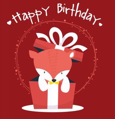 Lis cute szczęśliwy kartka urodzinowa