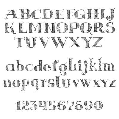 Naklejka Litery alfabetu czcionki z cross-wylęgowych