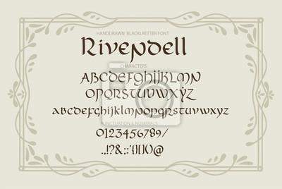 Litery w stylu dekoracyjnej magii vintage. Skrypt wektorowy.