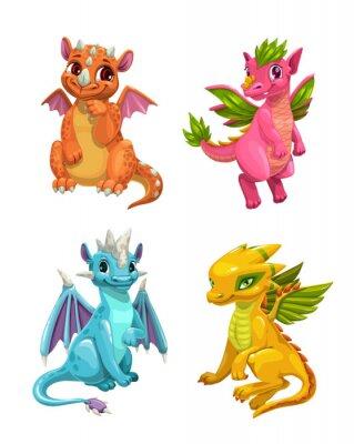 Naklejka Little cute cartoon dragons set. Colotful fantasy monsters.