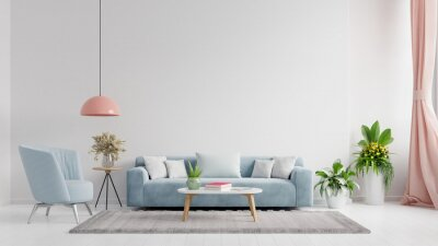 Naklejka Living room interior wall mockup in bright tones with have sofa and lamp with white wall background.