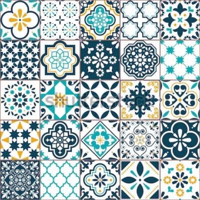 Naklejka Lizbona geometryczny wzór płytki Azulejo wektor, portugalski lub hiszpański retro stare płytki mozaiki, śródziemnomorski bez szwu turkus i żółty design. Tło włókienniczych ozdobnych