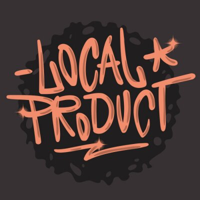 Local Product Hand Drawn Brush Lettering Calligraphy Graffiti Tag Style Type Logo Design Vector Graphic