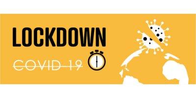 Lockdown background. Coronavirus lockdown. Flat vector logo.