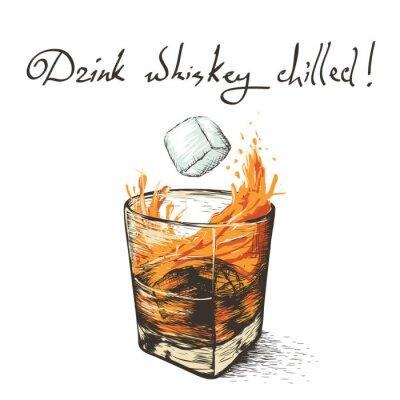 Naklejka lód spada w whisky