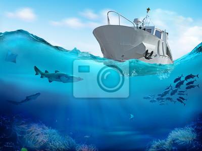 Naklejka Łódź rybacka w morzu. 3D ilustracji