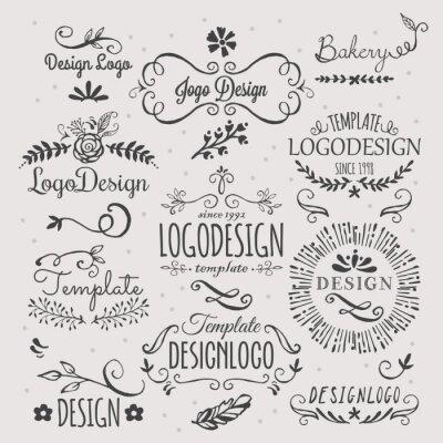Naklejka Logo design with hand sketched elements