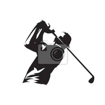 Logo gracza w golfa, sylwetka wektor na białym tle