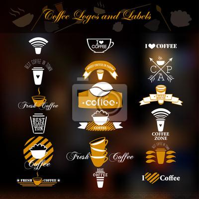 Logo kawy i etykiety.