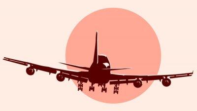 Naklejka Logo rundy ilustracja latania samolotem.