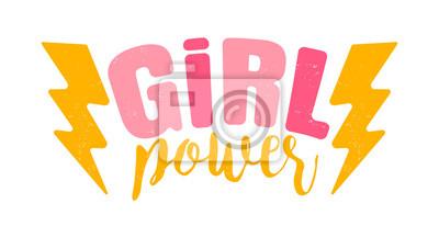 Naklejka Logo starodawny wektor mocy dziewczyny. Retro godło dla kobiet w boksie. Retro plakat z tekstem władzy dziewczyny