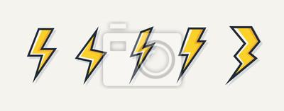 Naklejka Logo wektor piorun elektryczny zestaw na białym tle na białym tle symbol energii elektrycznej, plakat, t shirt. Ikona grzmotu. Piktogram burzy. Błyskowy znak świetlny. 10 eps