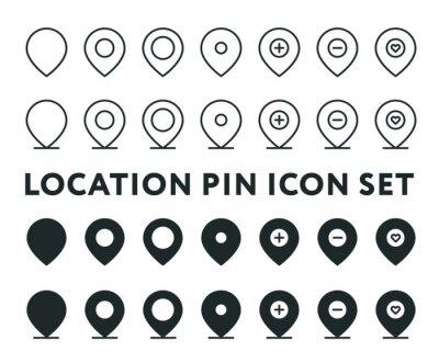 Lokalizacja Pin Navigation Pointer Destination Minimal Linia wektorowa i zestaw kolekcji Solid Icon