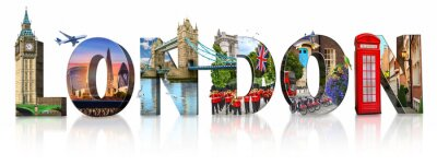 Naklejka London city landmarks. Word illustration of most famous London monuments and places