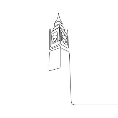 Naklejka London City of Westminster Big Ben clock tower one line drawing minimalist design