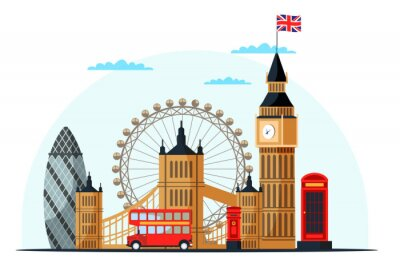 Naklejka London cityscape flat vector color illustration