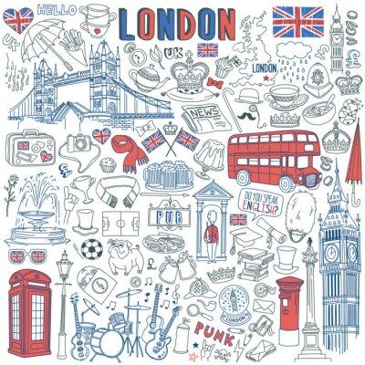 Naklejka London doodle set. Landmarks, architecture and traditional symbols of English culture - Big Ben, Tower Bridge, Royal crown, red telephone box, Union Jack. Vector illustration isolated on background