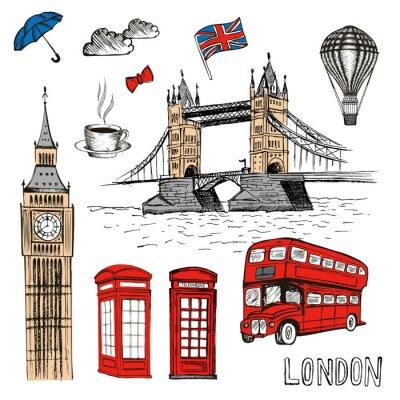 Naklejka London Doodles. Wektorowa ręka rysująca ilustracja z Londyńskimi symbolami