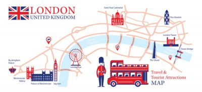 Naklejka London, England Travel and Tourist Attraction Map